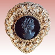 Gorgeous ART DECO Black Glass Cameo Vintage Estate Dress Clip
