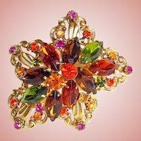 Fabulous ORANGE GREEN PINK Rhinestone Vintage Estate Pin Brooch