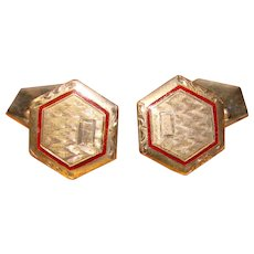Gorgeous ART DECO Red Enamel Engraved Vintage Estate Cufflinks