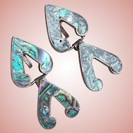 Gorgeous MEXICAN STERLING & Abalone Signed Dangle Vintage Estate Earrings