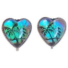 Gorgeous BUTTERFLY WING Sterling Palm Tree Heart Vintage Earrings