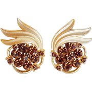 Gorgeous TRIFARI Signed Rhinestone Vintage Estate Earrings