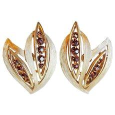 Gorgeous TRIFARI Signed Rhinestone Leaf Vintage Estate Earrings