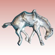 Awesome Vintage 1940s STERLING HORSE w/ Saddle Estate Pin Brooch