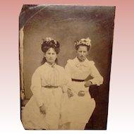 Antique Tintype Photo LADIES in HATS