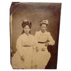Antique Tintype Photo LADIES in HATS