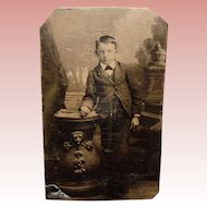 Antique Tintype Photo BOY with LION TABLE