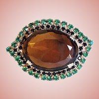 Fabulous HUGE GLASS STONE & Rhinestone Vintage Estate Pin Brooch