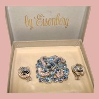 Fabulous Vintage EISENBERG Signed Blue & Clear Rhinestone Brooch Set in Original Box