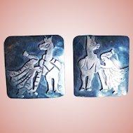 STERLING PERU Signed Llama & Lady Vintage Estate Earrings
