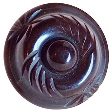 Vintage CARVED BAKELITE Button Medium Size Chocolate Brown