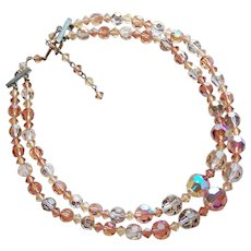 Gorgeous ROSY BROWN AURORA CRYSTAL 2 Strand Vintage Necklace