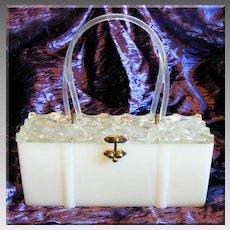 Fabulous LUCITE & Plastic Fancy Lid Vintage Box PURSE