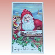Antique SMILING SANTA Christmas Postcard