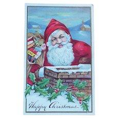 Antique SMILING SANTA Christmas Postcard
