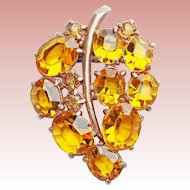 Gorgeous ART DECO Amber Glass Dress Clip Brooch