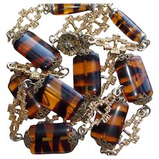 Awesome TIGER STRIPE GLASS BEADS Vintage Necklace
