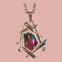 Gorgeous WATERMELON RHINESTONE Signed Vintage Necklace