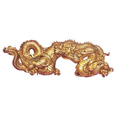 Gorgeous ALVA Signed Menuki DRAGON Vintage Pin Brooch