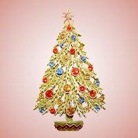 Signed ART Enamel & Rhinestone Vintage Christmas Tree Pin Brooch