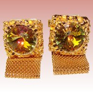 Awesome WATERMELON RIVOLI RHINESTONE Mesh Wrap Vintage Estate Cufflinks