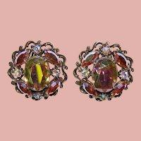 Fabulous AURORA RHINESTONE Huge Vintage Clip Earrings
