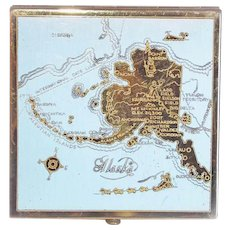 Signed ALASKA Vintage Souvenir Powder Compact