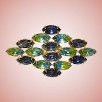 Fabulous Vintage BLUE & GREEN GIVRE GLASS Rhinestone Brooch