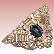 Gorgeous ART DECO Blue Glass & Rhinestone Vintage Clip