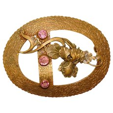 Fabulous VICTORIAN Pink Glass Stones IRIS Sash Pin Brooch