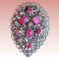 Gorgeous ART DECO Pink Glass & Rhinestone Vintage Dress Clip
