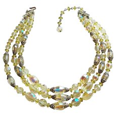 Fabulous YELLOW AURORA CRYSTAL 3 Strand Vintage Necklace