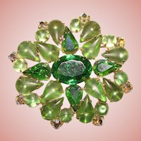 Gorgeous GREEN FROSTED RHINESTONE Vintage Estate Brooch