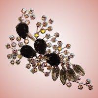 Fabulous HUGE Vintage BLACK & SMOKE AURORA RHINESTONE Brooch