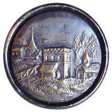 Fabulous Antique COUNTRY VILLAGE Large Picture Story Button