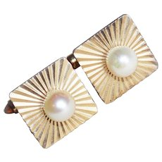 Signed KREMENTZ Cultured Pearl Vintage Cufflinks