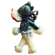 Vintage Celluloid Pistol Packing Pooch Dog Charm
