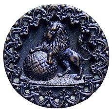 Antique LION & GLOBE Large Picture Story Button