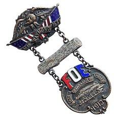 Huge Fraternal Order of Eagles Antique Enamel Medal Badge Pin