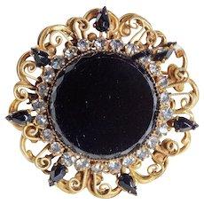 Gorgeous ORIGINAL BY ROBERT Signed Black Glass Vintage Brooch or Pendant