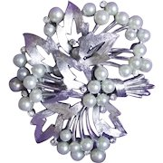 Gorgeous TRIFARI Signed Faux Pearl Vintage Pin Brooch