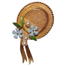 Fabulous KREMENTZ Enamel & Cultured Pearl Forget Me Not Hat Brooch