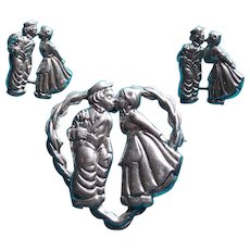 Awesome STERLING Kiss in Heart Vintage Brooch Set - Signed Beau