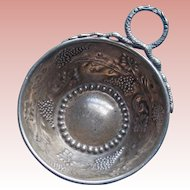 Antique French 800 Silver Grape & Snake Wine Tasting Cup