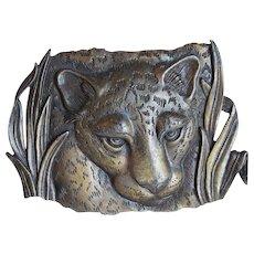 1980s Leopard Signed JJ Jonette Vintage Brooch