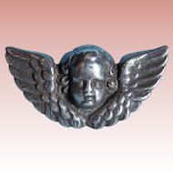 Antique Sterling Winged Angel Face Small Brooch