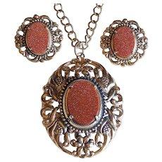 Gorgeous Goldstone Pendant Necklace & Earrings Vintage Set