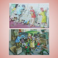 2 Mainzer DRESSED CATS Vintage Postcards - Card Shop & Taxi