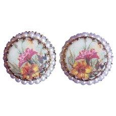 Vintage West Germany Floral Sugar Stone Earrings