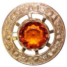 Fabulous Vintage Scottish AMBER GLASS Kilt Pin - Red Tag Sale Item